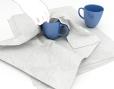 Wit zijdepapier ter bescherming van producten - voorbeeld servies